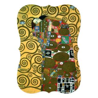 Mariage vintage, réalisation, l'étreinte par Klimt Carton D'invitation 12,7 Cm X 17,78 Cm
