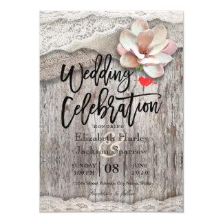 Mariages campagnards floraux de dentelle en bois carton d'invitation  12,7 cm x 17,78 cm