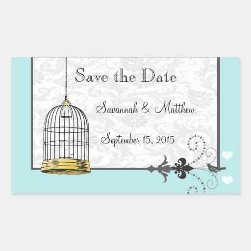 Mariages musicaux d'inséparable de cage à oiseaux autocollant en rectangle