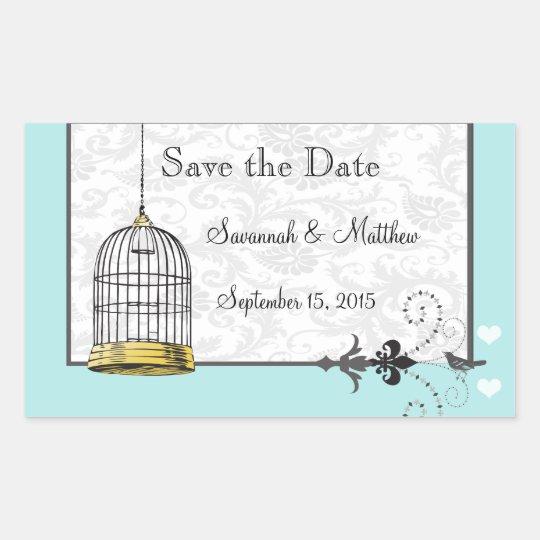 Mariages musicaux d'inséparable de cage à oiseaux sticker rectangulaire