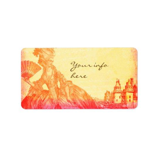 Marie Antoinette au coucher du soleil avec des Étiquettes D'adresse