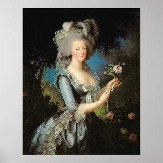 Marie Antoinette avec un rose, 1783 Posters