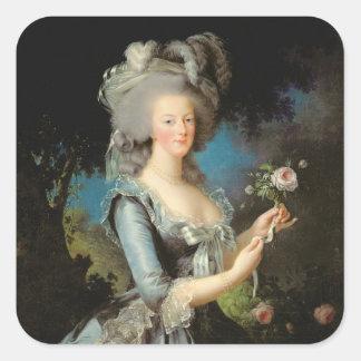 Marie Antoinette avec un rose, 1783 Sticker Carré
