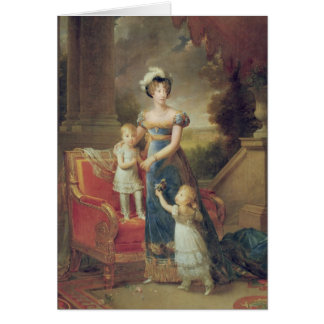 Marie-Caroline de Bourbon avec ses enfants Carte De Vœux