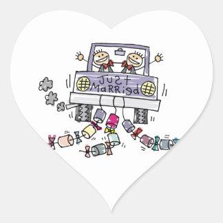 Marié de mariage homosexuel juste marié sticker cœur