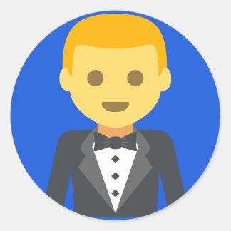 Marié élégant Emoji Sticker Rond
