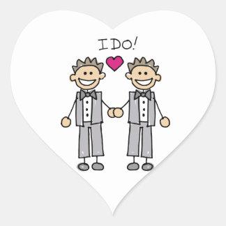 Marié gai de mariage autocollant en cœur