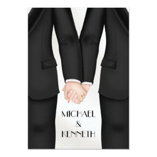 Marié gai élégant de mariage tenant des mains carton d'invitation  12,7 cm x 17,78 cm