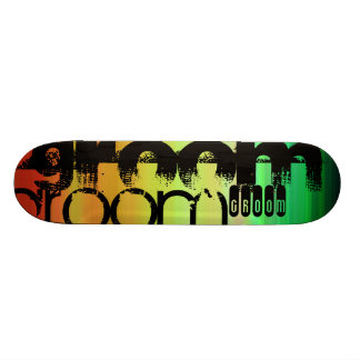 Marié ; Vert, orange vibrants, et jaune Skateboard