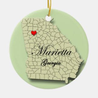 Marietta, la Géorgie. Carte, ornements de Noël