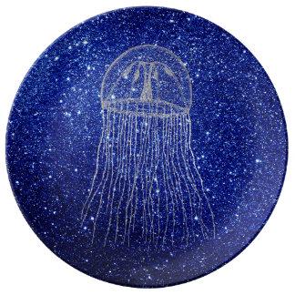 Marine d'Aqua de gris argenté de bleu d'océan de Assiettes En Porcelaine