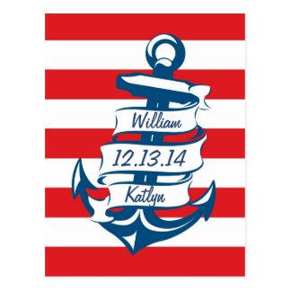 Marine/économies nautiques rouges de thème la cart cartes postales