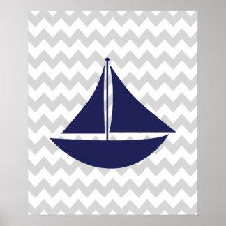 Marine et bateau nautique gris de Chevron Posters