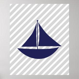 Marine et bateau nautique rayé gris affiche