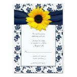 Marine et carte- de réponse florale blanche de cartons d'invitation personnalisés
