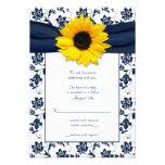 Marine et carte- de réponse florale blanche de mar cartons d'invitation personnalisés