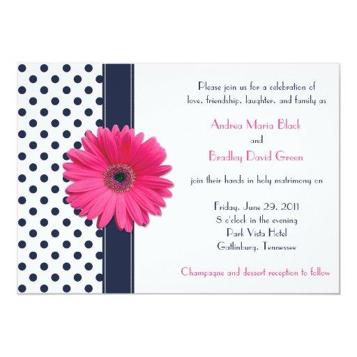 Marine et faire-part de mariage blanc de point de carton d'invitation  12,7 cm x 17,78 cm