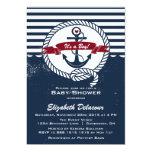 Marine et invitation nautique rustique rouge de