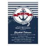 Marine et invitation nautique rustique rouge de ba