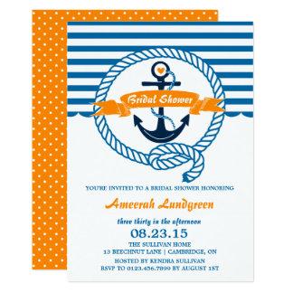 Marine et invitation nuptiale nautique orange de