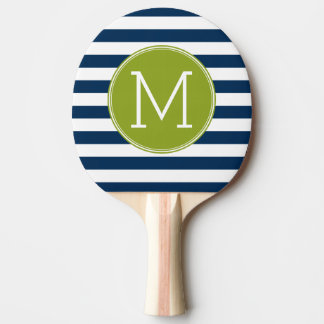 Marine et monogramme blanc de vert de motif rayé raquette tennis de table