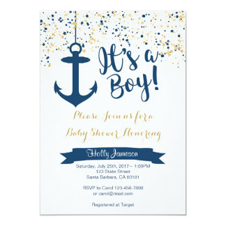 Marine et or nautiques d'invitation de baby shower carton d'invitation  12,7 cm x 17,78 cm