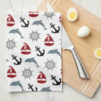 Marine et rouge de motif d'ancre de dauphin de linge de cuisine