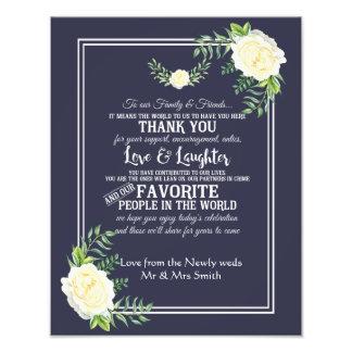 Marine florale avec le Merci rose de mariage Impression Photo