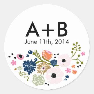 Marine florale d'autocollant de cercle de mariage sticker rond