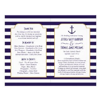 Marine nautique et mariage blanc d'ancre de rayure prospectus 21,6 cm x 24,94 cm