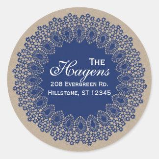 Marine ronde vintage d'étiquette d'adresse de sticker rond