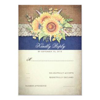 Marine rustique de toile de jute de tournesols carton d'invitation 8,89 cm x 12,70 cm