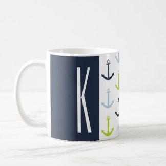Marine, vert de chaux, et ancres nautiques de mugs à café