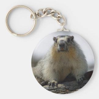 Marmot gonflé par jaune porte-clé rond