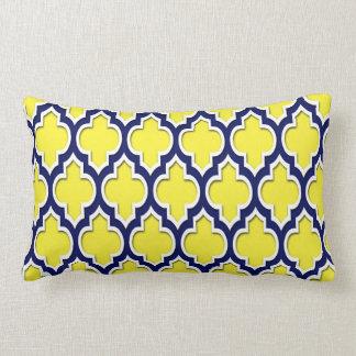 Marocain blanc jaune Quatrefoil #4DS de bleu Coussin Rectangle
