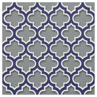 Marocain blanc Quatrefoil #5DS de marine de gris Tissu