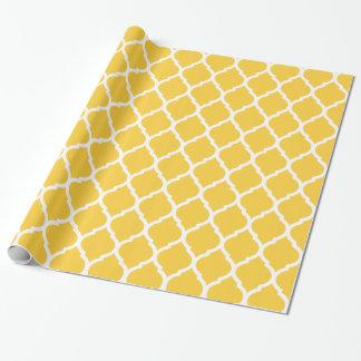 Marocain jaune et blanc Quatrefoil Papier Cadeau
