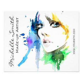Marquage à chaud abstrait de maquilleur de femme prospectus 11,4 cm x 14,2 cm