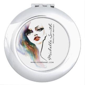 Marquage à chaud coloré de maquillage de femme miroir compact