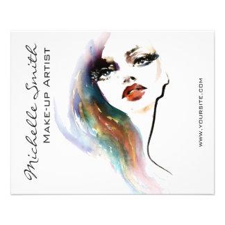 Marquage à chaud coloré de maquillage de femme prospectus 11,4 cm x 14,2 cm