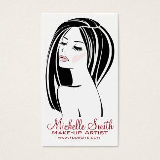 Marquage à chaud de cils de visage de femme de cartes de visite