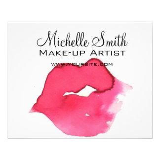 Marquage à chaud rose de maquillage de lèvres prospectus 11,4 cm x 14,2 cm