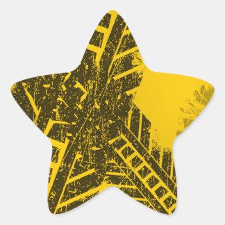 Marquage routier noir affligé par grunge de voie sticker étoile