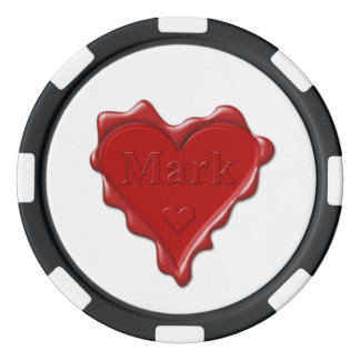 Marque. Joint rouge de cire de coeur avec la Jetons De Poker