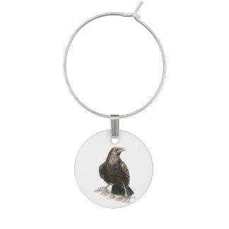 Marque-verres Art de nature d'oiseau de Raven d'aquarelle