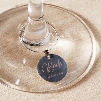 Marque-verres Bleu marine et monogramme rose de jeune mariée de