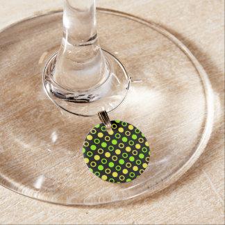 Marque-verres Citron et anneaux et pois de chaux