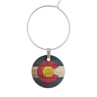 Marque-verres Drapeau d'état du Colorado sur le vieux grain en
