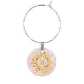 Marque-verres Feuille d'or rose ID445 de monogramme de confettis