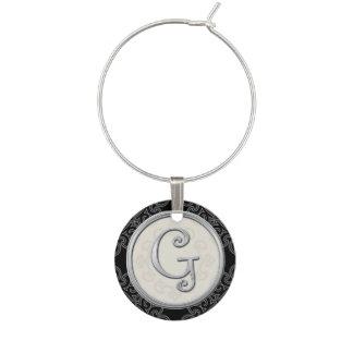 Marque-verres Initiale argentée élégante G de monogramme